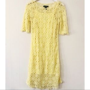 Lauren Ralph Lauren yellow crochet midi dress (XS)